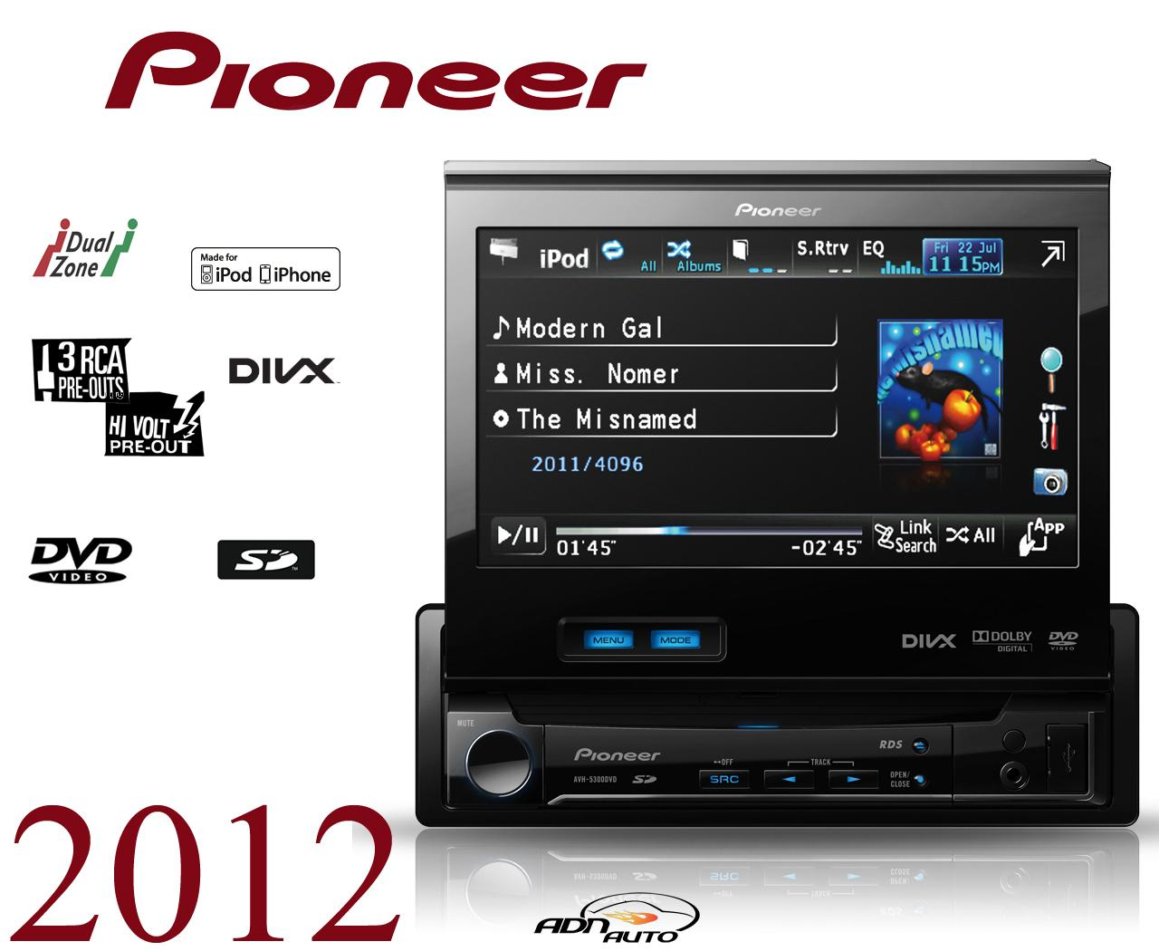 autoradio dvd pioneer avh 5300dvd motorise 149404. Black Bedroom Furniture Sets. Home Design Ideas