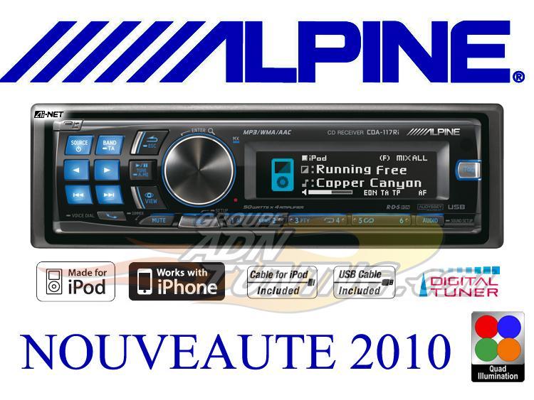 autoradio alpine cda 117ri autoradio cd mp3 wma ipod usb 75426. Black Bedroom Furniture Sets. Home Design Ideas