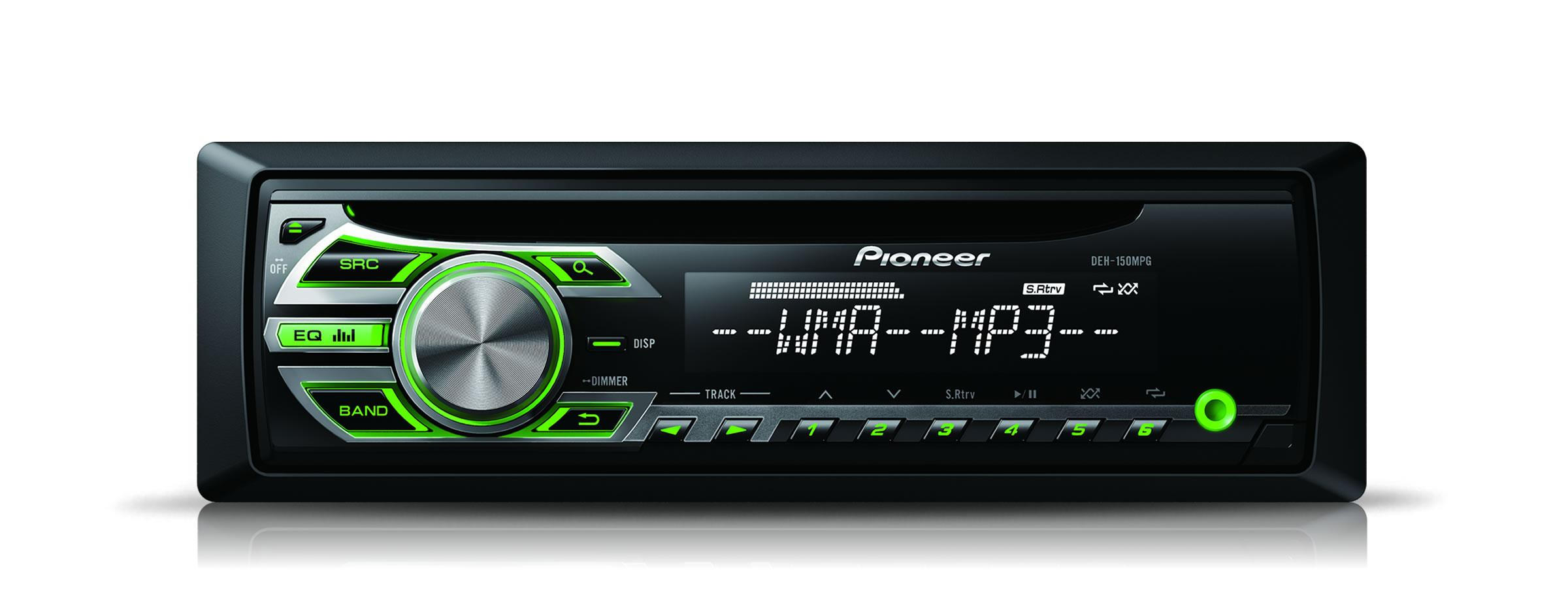 pioneer deh 150mpg autoradio cd mp3 wma wav aux 4x50w vert 307534. Black Bedroom Furniture Sets. Home Design Ideas