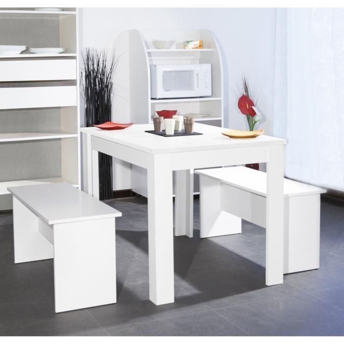 salt ensemble repas coloris blanc 3 pieces 1 table a manger 2 bancs 275406. Black Bedroom Furniture Sets. Home Design Ideas