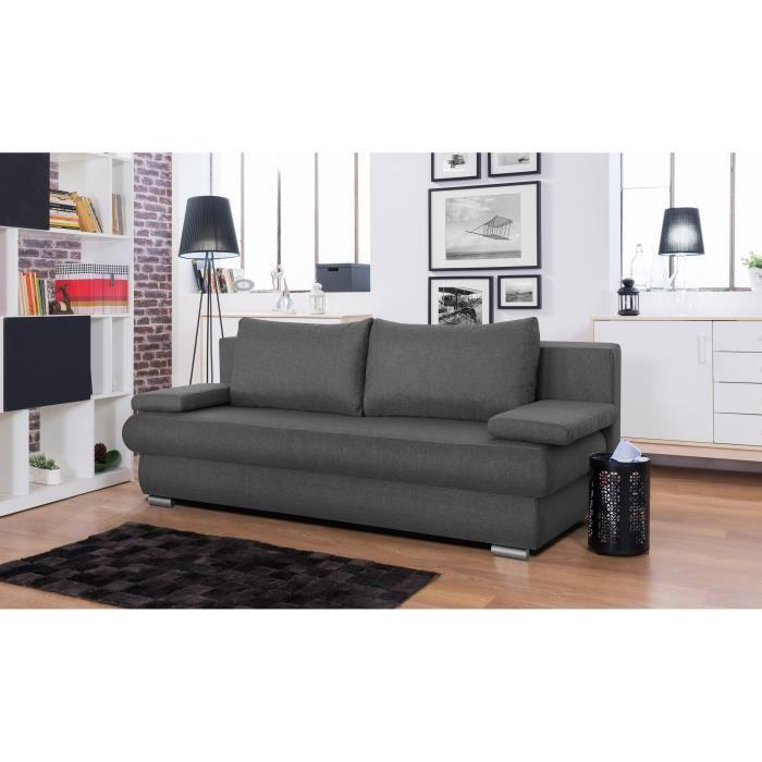 clyde banquette clic clac avec coffre de rangement 3 places 187x94x76 cm tissu gris 385511. Black Bedroom Furniture Sets. Home Design Ideas