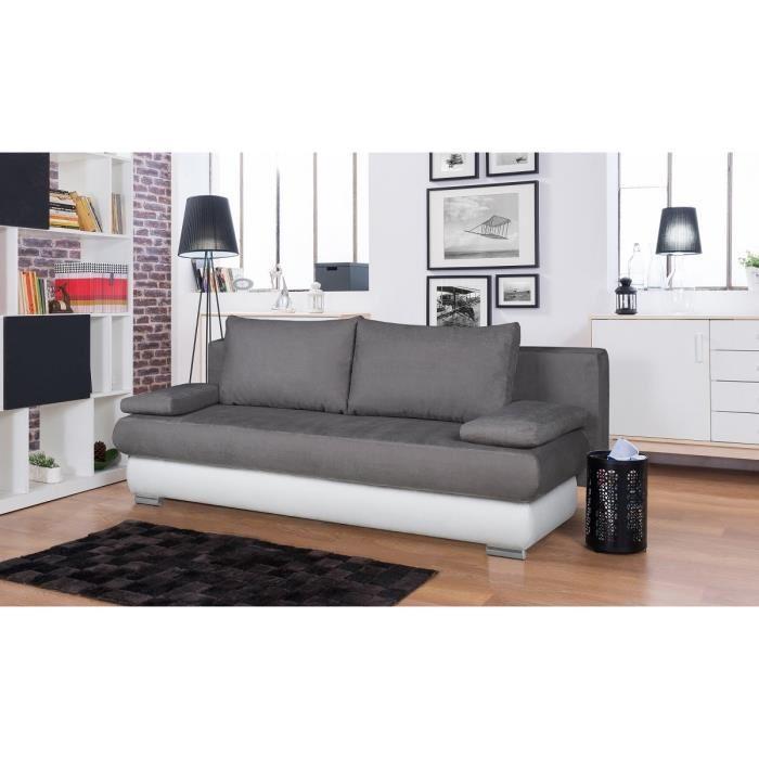 clyde banquette clic clac en simili et tissu microfibre 3 places 187x76x94 cm gris et blanc. Black Bedroom Furniture Sets. Home Design Ideas