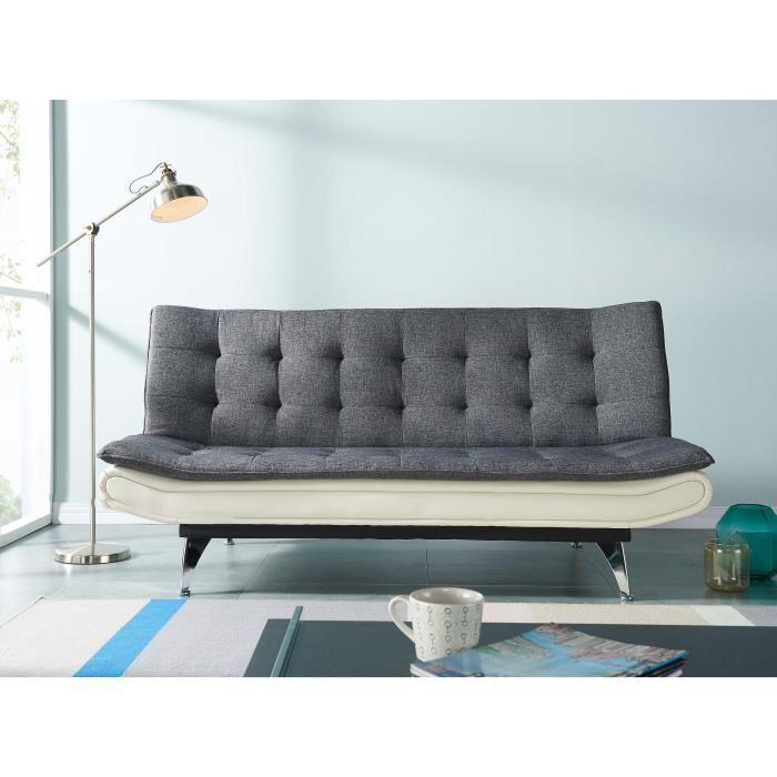 thelma banquette clic clac en simili et tissu 3 places. Black Bedroom Furniture Sets. Home Design Ideas