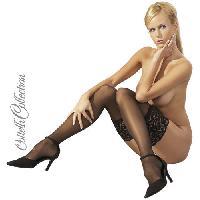 Bas Cottelli - Bas noirs avec Jarretiere noire sexy en dentelle - Taille 2