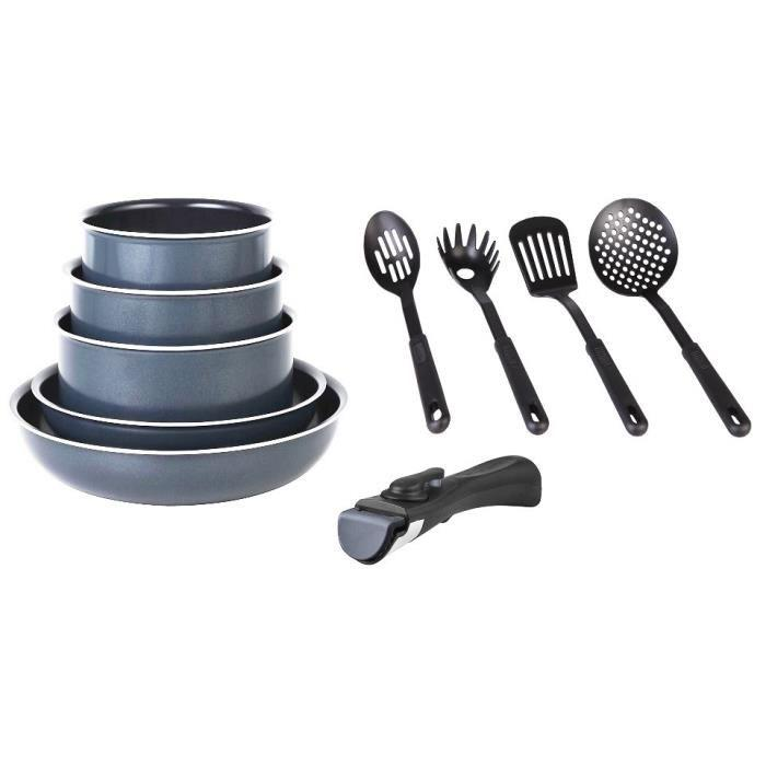 aucune marc veyrat batterie de cuisine 10 pieces amovible gris 303028. Black Bedroom Furniture Sets. Home Design Ideas