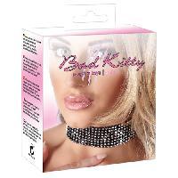 Bijoux sexy Bad Kitty - Collier noir avec strass - Noir/Argent - Taille 25/42cm
