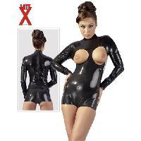 Body LateX - Body en latex avec buste ouvert - Noir - Taille L