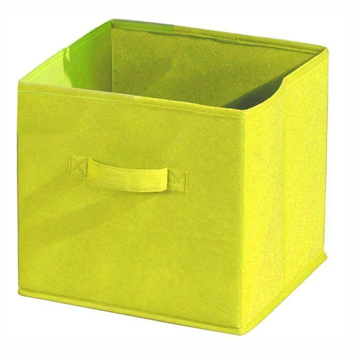 aucune compo tiroir de rangement tissu jaune 27x27x28 cm 233923. Black Bedroom Furniture Sets. Home Design Ideas