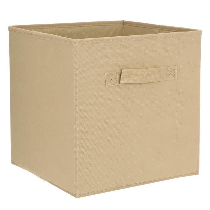 aucune compo tiroir de rangement tissu lin 27x27x28 cm 262593. Black Bedroom Furniture Sets. Home Design Ideas
