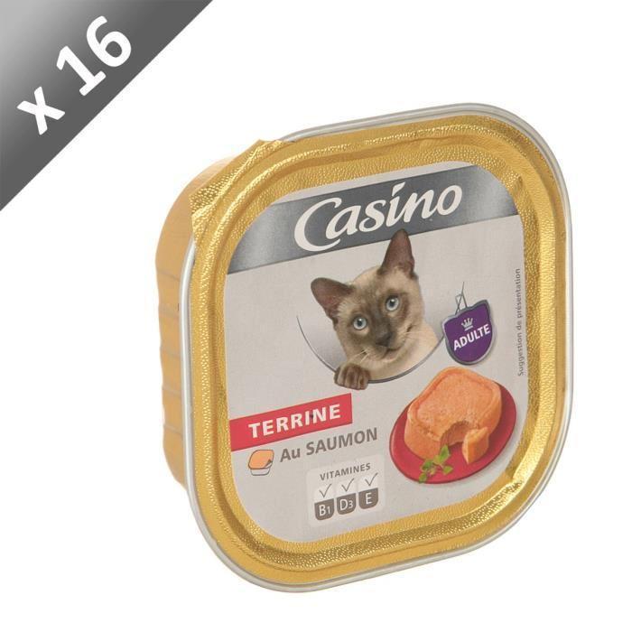 Casino casino barquette au saumon pour chien 100 g x16 426367 - Herbe a chat seche ...