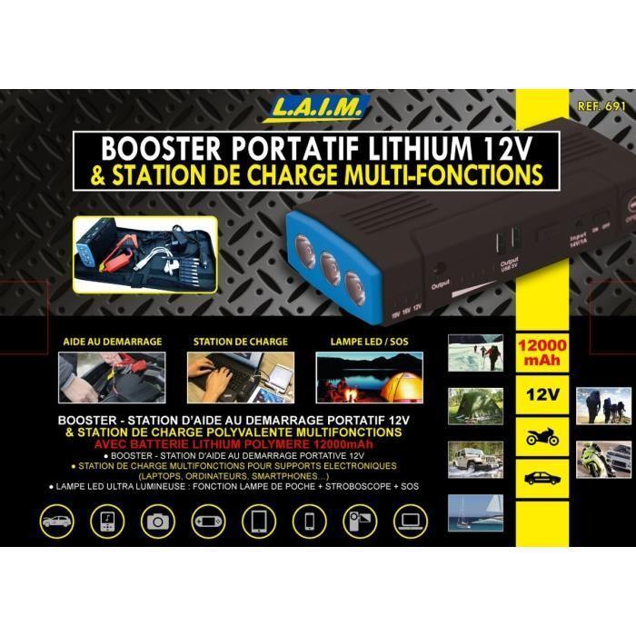 laim booster de d marrage 12 v avec charge multifonctions 12000 mah 290680. Black Bedroom Furniture Sets. Home Design Ideas