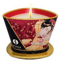 Bougie de massage SHUNGA - Bougie de massage Lueur et Carresse Fraise vin petillant - 170 ml