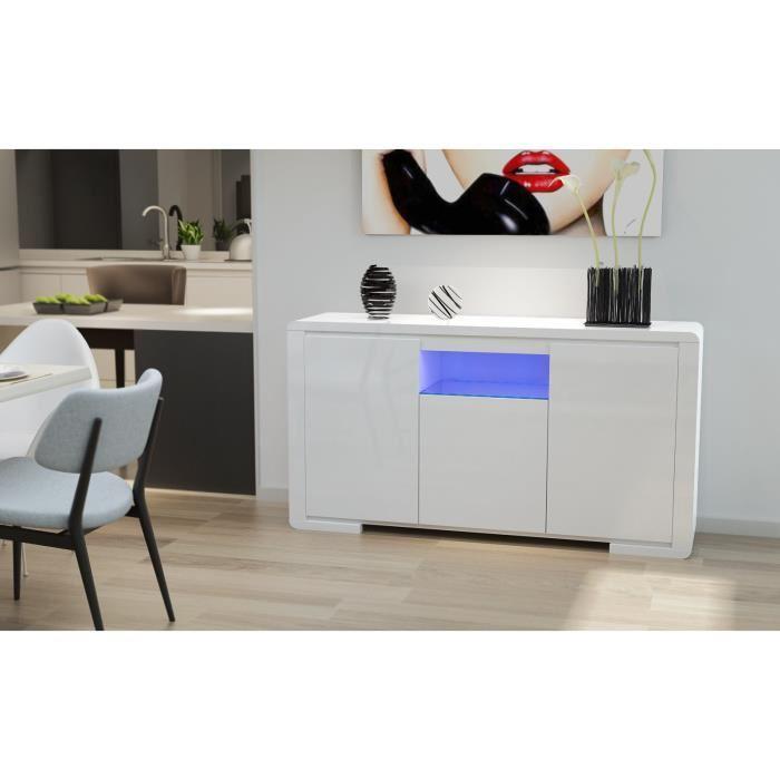 aucune bellagio buffet avec clairage led 149 cm blanc laqu 316312. Black Bedroom Furniture Sets. Home Design Ideas