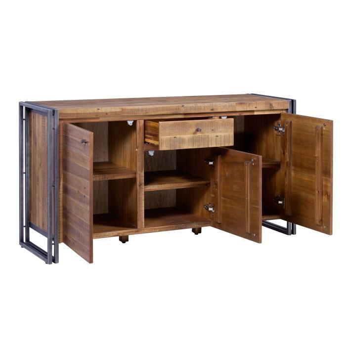 aucune buffet 150 cm en m tal et mdf plaqu pin acacia et chene 395762. Black Bedroom Furniture Sets. Home Design Ideas
