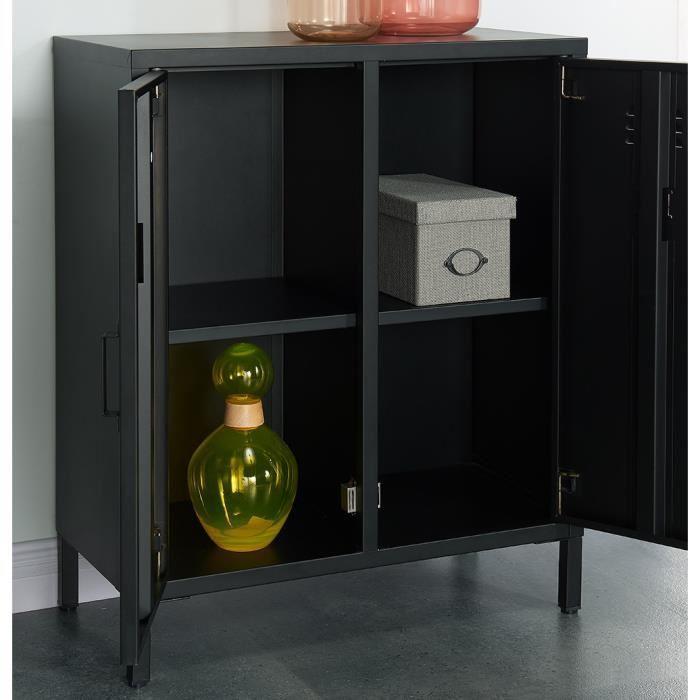 aucune camden meuble de rangement en metal 70 cm noir laque 336984. Black Bedroom Furniture Sets. Home Design Ideas