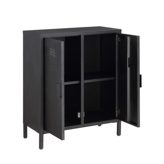 aucune camden meuble de rangement en metal 70 cm noir laque 336984. Black Bedroom Furniture Sets. Home Design Ideas