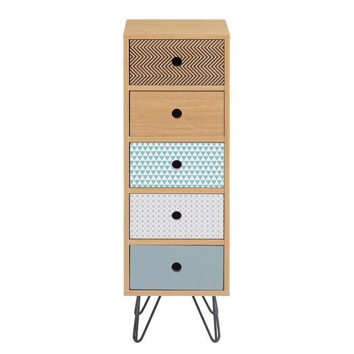 Colette meuble de rangement 30 cm d cor chene et for Meuble bureau 30 cm
