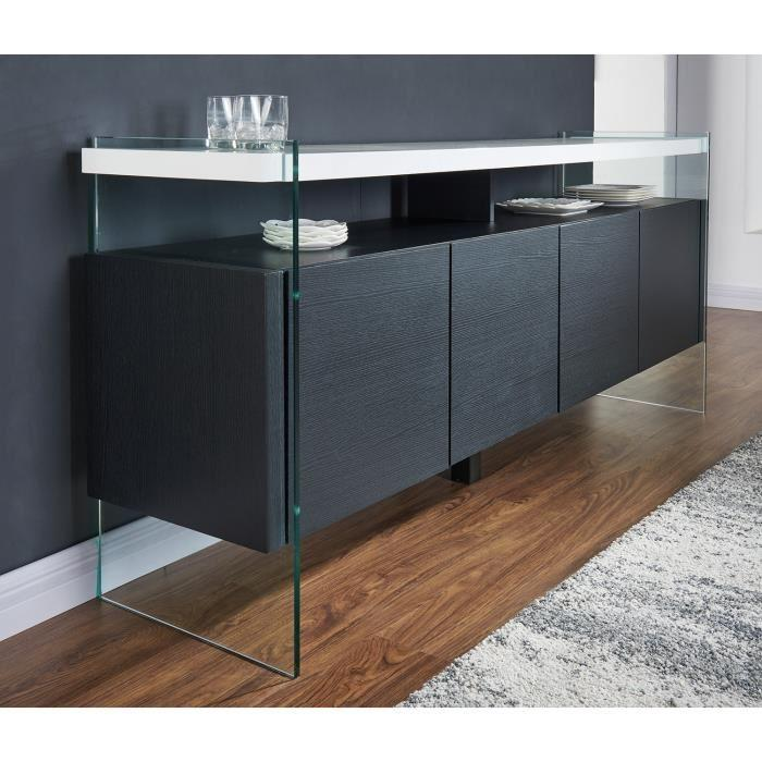 aucune crea buffet 180cm laque blanc brillant et noir 305002. Black Bedroom Furniture Sets. Home Design Ideas