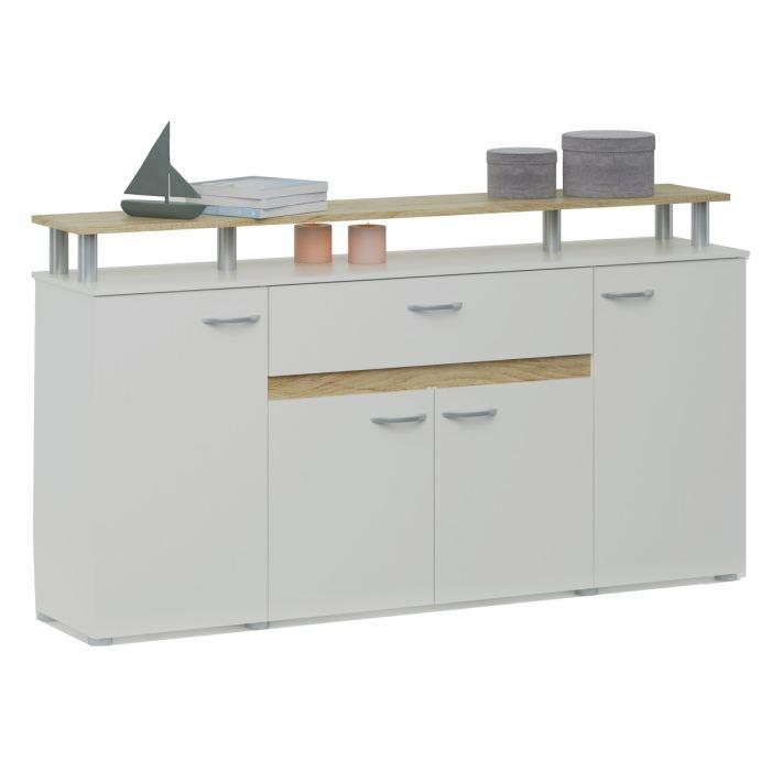 Aucune evolution buffet 156cm coloris blanc et chene 262769 for Buffet enfilade but