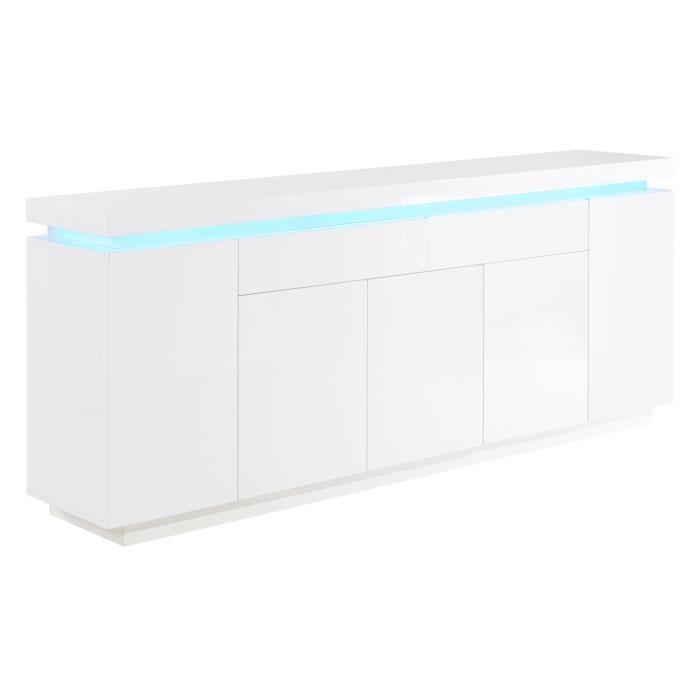 Aucune - FLASH Buffet avec LED bleu 206 cm - Laque blanc brillant ...