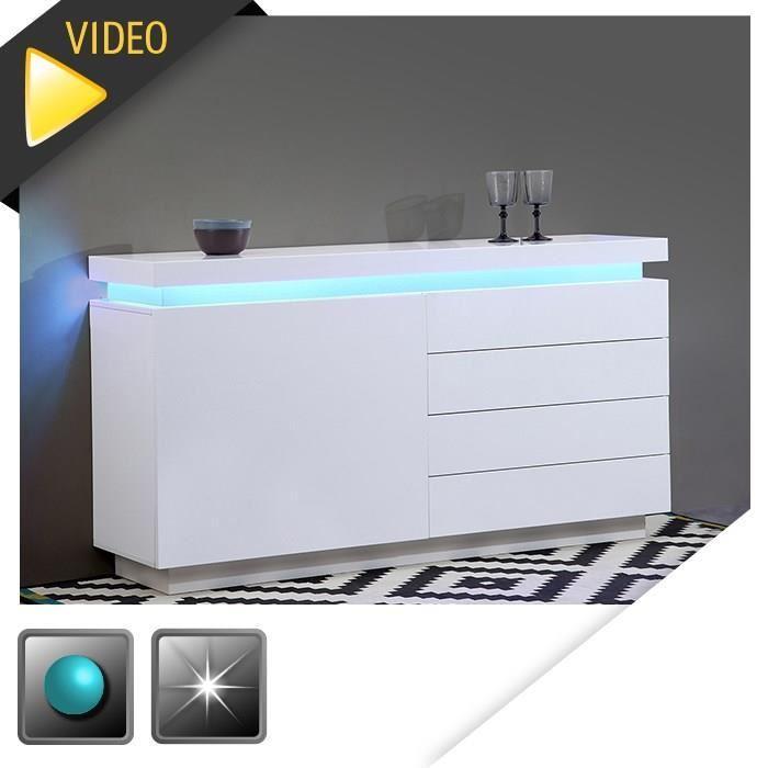 aucune flash buffet blanc laque avec led bleue 150x40x81 cm 277556. Black Bedroom Furniture Sets. Home Design Ideas