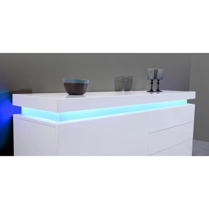 aucune flash buffet blanc laque avec led bleue 150x40x81 cm 277556. Black Bedroom Furniture Sets. Home Design Ideas