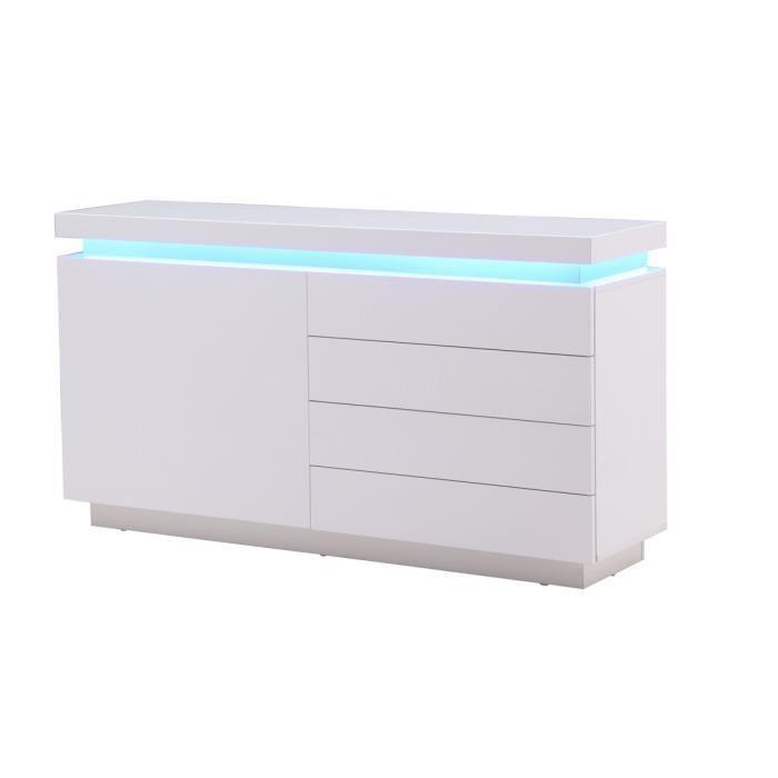 aucune flash buffet blanc laque avec led bleue 150x40x81. Black Bedroom Furniture Sets. Home Design Ideas