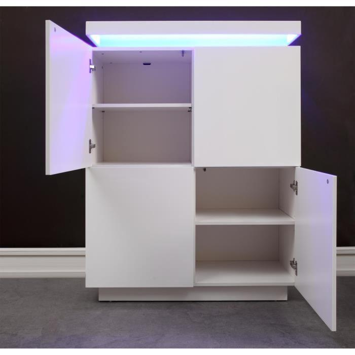 aucune flash buffet haut blanc laque avec led bleue 288107. Black Bedroom Furniture Sets. Home Design Ideas