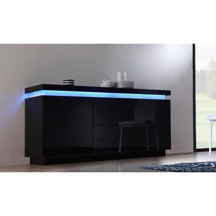 aucune flash buffet laque noir 175cm avec leds. Black Bedroom Furniture Sets. Home Design Ideas