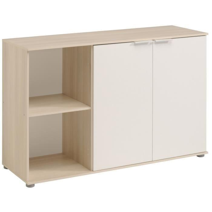 keo buffet bas classique decor acacia clair et blanc l 120 cm 526524. Black Bedroom Furniture Sets. Home Design Ideas