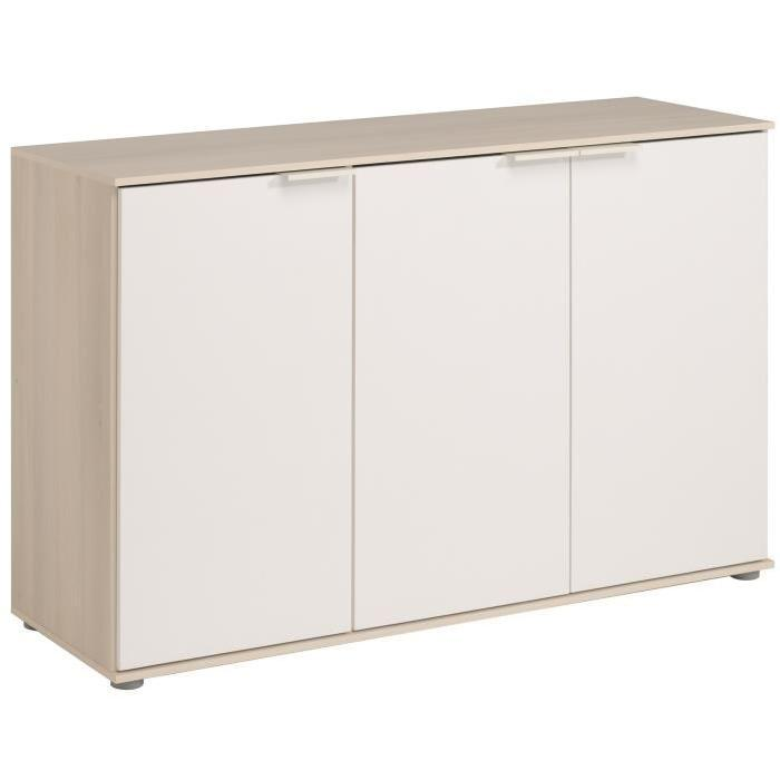 keo buffet bas classique decor acacia clair et blanc l 120 cm 538674. Black Bedroom Furniture Sets. Home Design Ideas