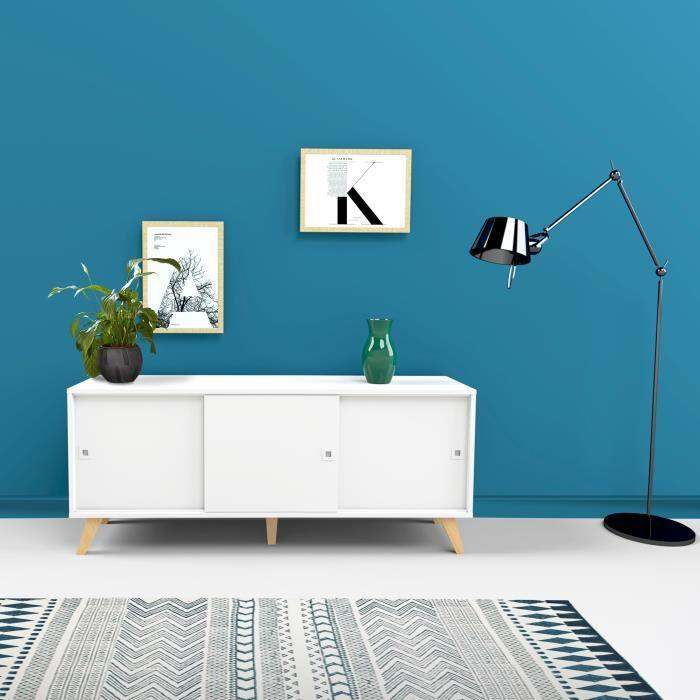 lumi buffet bas scandinave pieds bois massif blanc et hetre vernis l 149 cm 443857. Black Bedroom Furniture Sets. Home Design Ideas