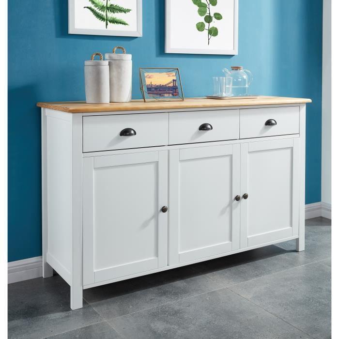 aucune montauk buffet 3 portes blanc laqu classique 140 cm 430922. Black Bedroom Furniture Sets. Home Design Ideas