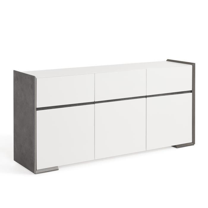 nautilus buffet 160 cm laqu blanc satin et d cor effet b ton 362750. Black Bedroom Furniture Sets. Home Design Ideas