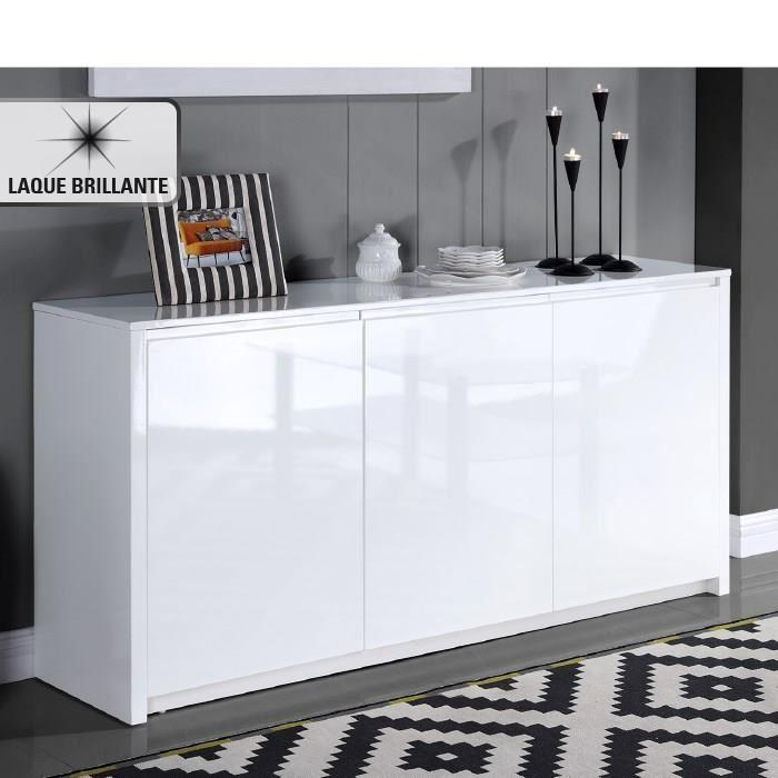 aucune polaris buffet laque 160cm blanc brillant 262784. Black Bedroom Furniture Sets. Home Design Ideas