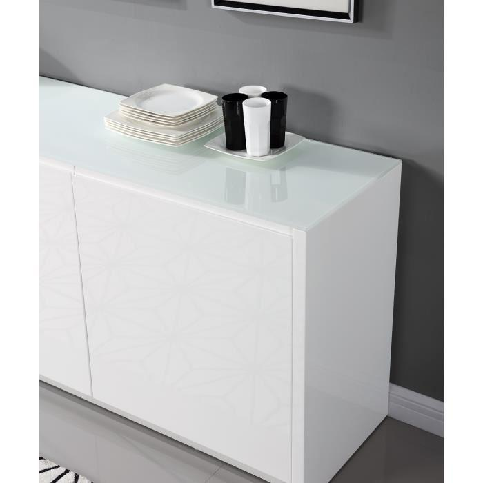aucune pura buffet 200cm blanc laque brillant 262786. Black Bedroom Furniture Sets. Home Design Ideas