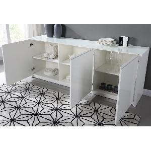 aucune pura buffet 200cm blanc laque brillant 262786. Black Bedroom Furniture Sets. Home Design Ideas