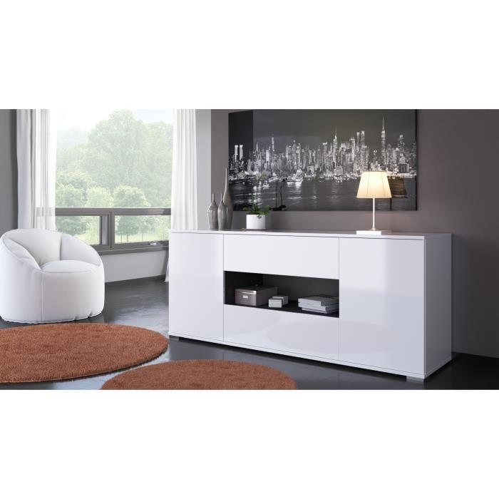 aucune star buffet 160 cm blanc brillant et gris anthracite 392981. Black Bedroom Furniture Sets. Home Design Ideas