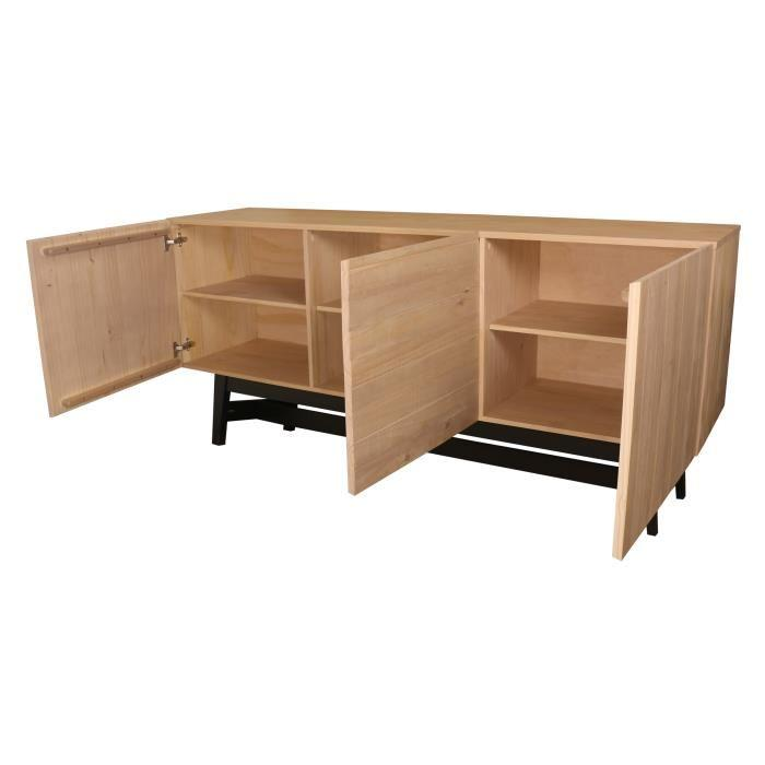 aucune studio bahut 180 cm en bois massif vernis et noir 394501. Black Bedroom Furniture Sets. Home Design Ideas