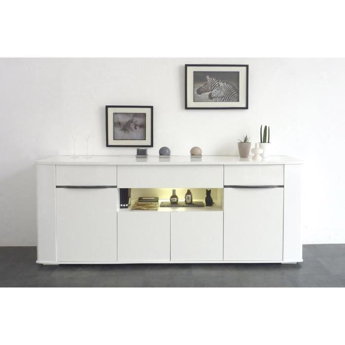 aucune white buffet 200cm blanc brillant 291437. Black Bedroom Furniture Sets. Home Design Ideas
