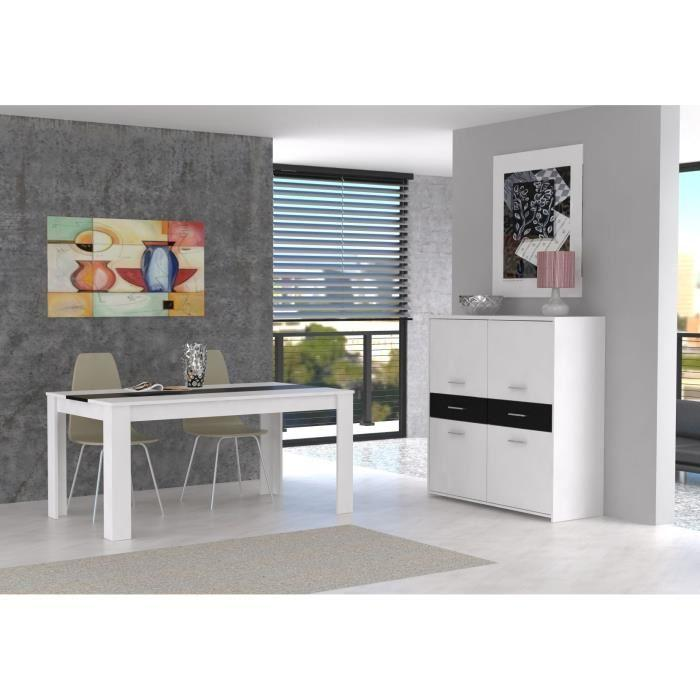 finlandek buffet haut el m 113cm blanc noir 360855. Black Bedroom Furniture Sets. Home Design Ideas
