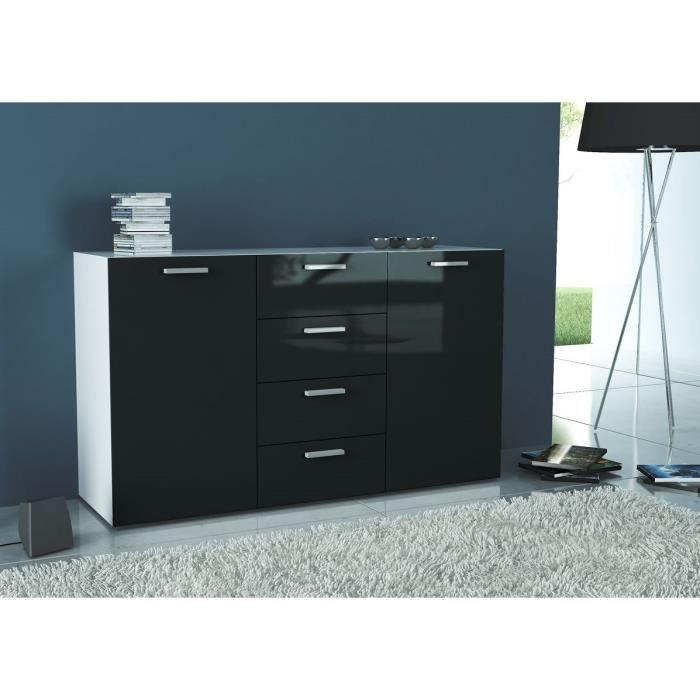 finlandek buffet leipa 135cm laque noir et blanc mat 355754. Black Bedroom Furniture Sets. Home Design Ideas
