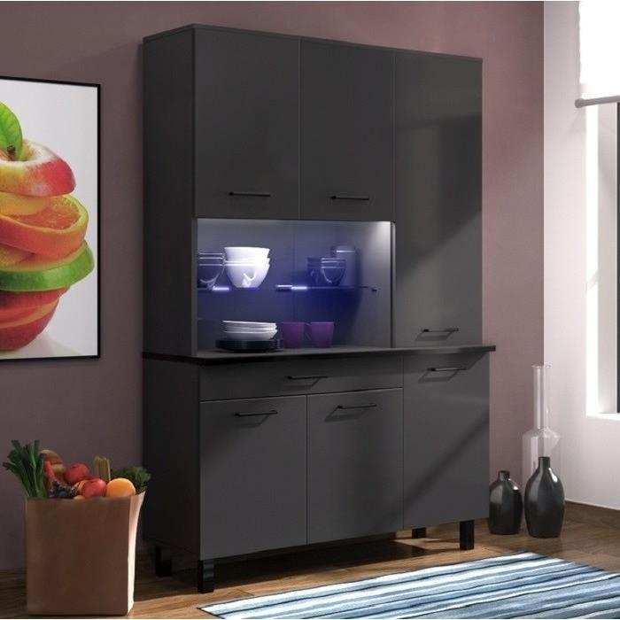 eco buffet 120 cm noir brillant et gris anthracite brillant 416414. Black Bedroom Furniture Sets. Home Design Ideas