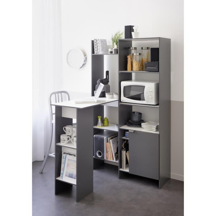 aucune kawa buffet bar l 101 cm d cor blanc et gris mat 495574. Black Bedroom Furniture Sets. Home Design Ideas