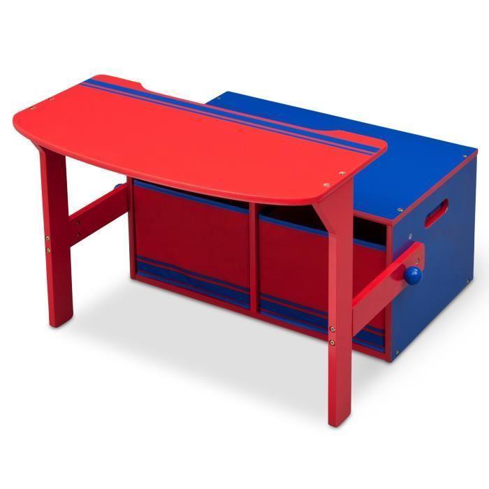 bureau enfant en bois banc et pupitre bleu et rouge 234878. Black Bedroom Furniture Sets. Home Design Ideas