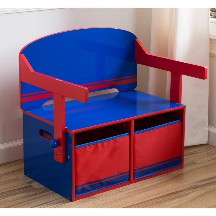 bureau enfant en bois banc et pupitre bleu et rouge 234878. Black Bedroom Furniture Sets. Home Design Ideas