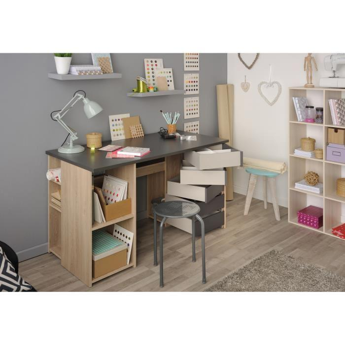 aucune atelier bureau 128 cm decor chene brooklyn et gris ombre 429991. Black Bedroom Furniture Sets. Home Design Ideas