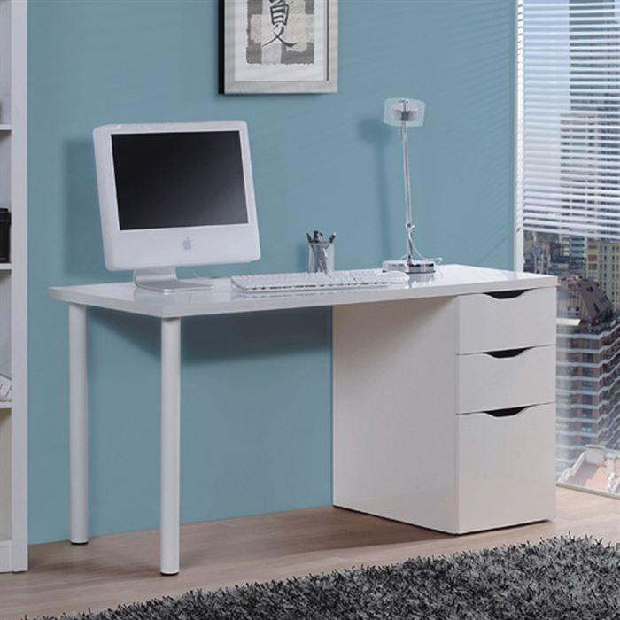 aucune athena table bureau 138 cm blanc 270452. Black Bedroom Furniture Sets. Home Design Ideas