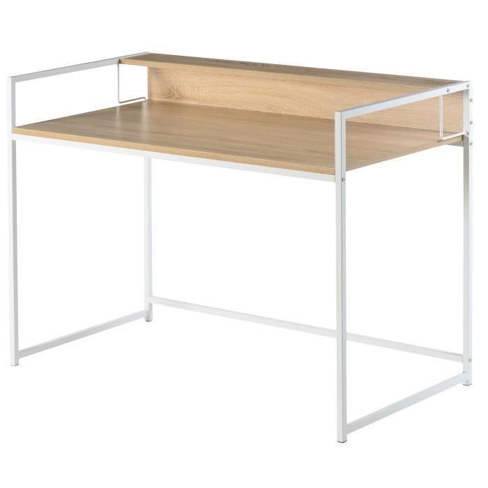 Bureau rehausse bureau mid plateforme de distribution for Bureau blanc et bois clair