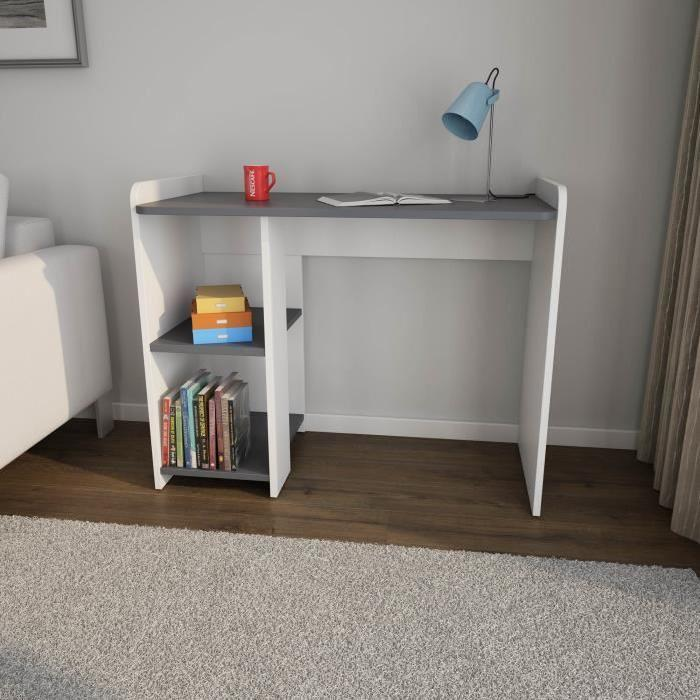 cobi br bureau contemporain melamine blanc et gris fonce mat l 100 cm 532181. Black Bedroom Furniture Sets. Home Design Ideas